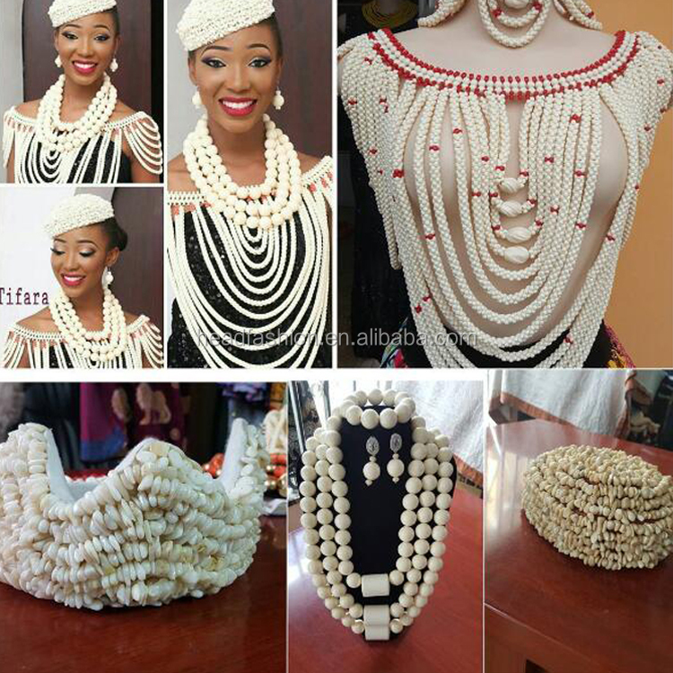Queency African White and Red Coral Beaded Necklace and Earrings Jewelry Sets for Latest Indian Fashion Wedding Bridal