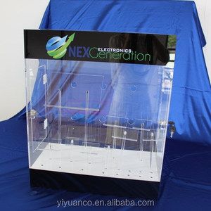 clear elegant design hinged acrylic lockable countertop display case for cell phone manufacturer