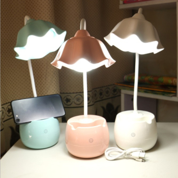 Fashion USB rechargeable LED light touch three-dimensional dimming reading learning eye table lamp Pen holder desk lamp