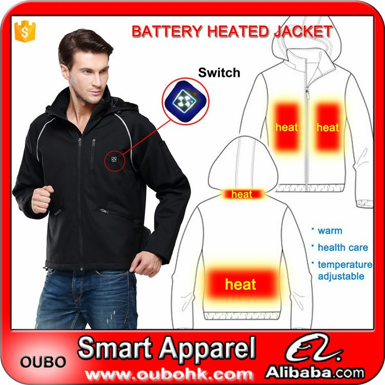 Electric clothing reflective clothing outdoor working winter jacket Warmer Electric Heated Clothing with heating pads OUBOHK