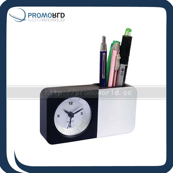 Table Clock With Pen Holder With Alarm Clock