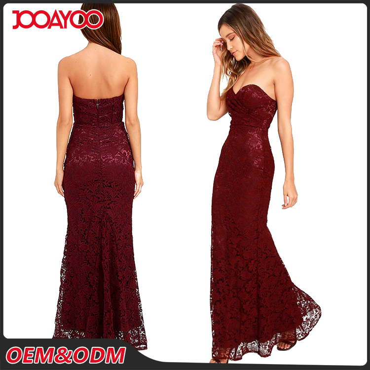 Hottest Lowcut Red Long Evening Dresses Strapless Ladies Sexy Lace Formal Maxi Dress