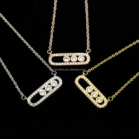 3dots open bar cubic zirconia pendant necklace fashion yiwu jewelry gold plated