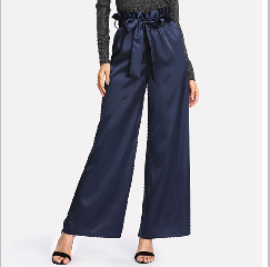 New style women satin wide leg long pants with waist belt