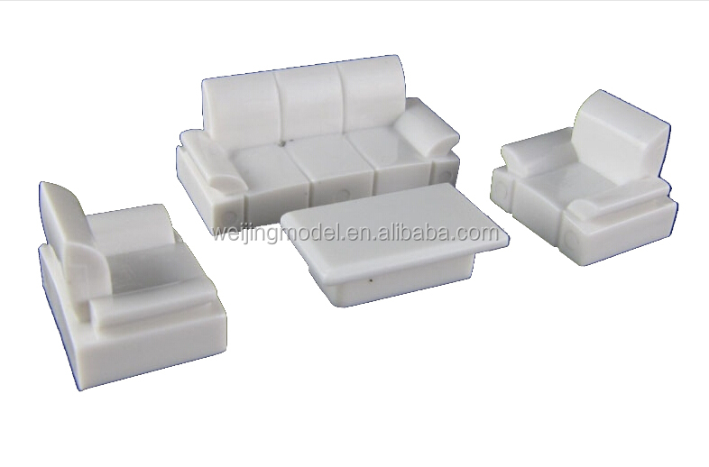 Architectural plastic scale model white furniture for 1 50 Scale model furniture