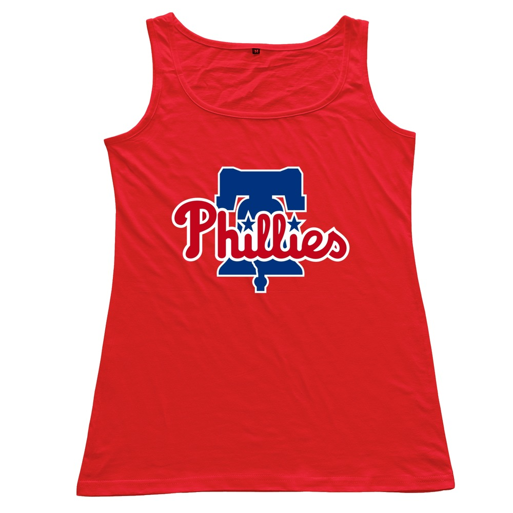 2015 Latest Casual Philadelphia Phillies 100 % Cotton O Neck Tank Top for Women Free Shipping