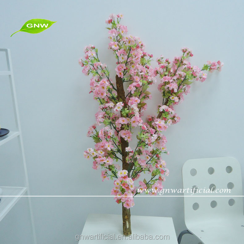 GNW BLS046 Decorative Plastic Artificial Pink Cherry Blossom Tree Branches for office table centerpieces decoration