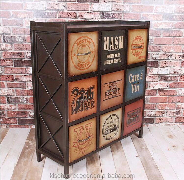 Retro Indoor 9 Drawers Flip Type Metal Cabinet Furniture