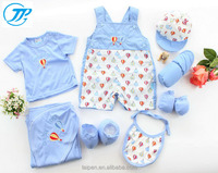 2016 Baby Gift Set 100% Cotton Blue Romper 8Pcs Summer New Born Clothing Set Baby Clothes With Good Quality TQ1-67
