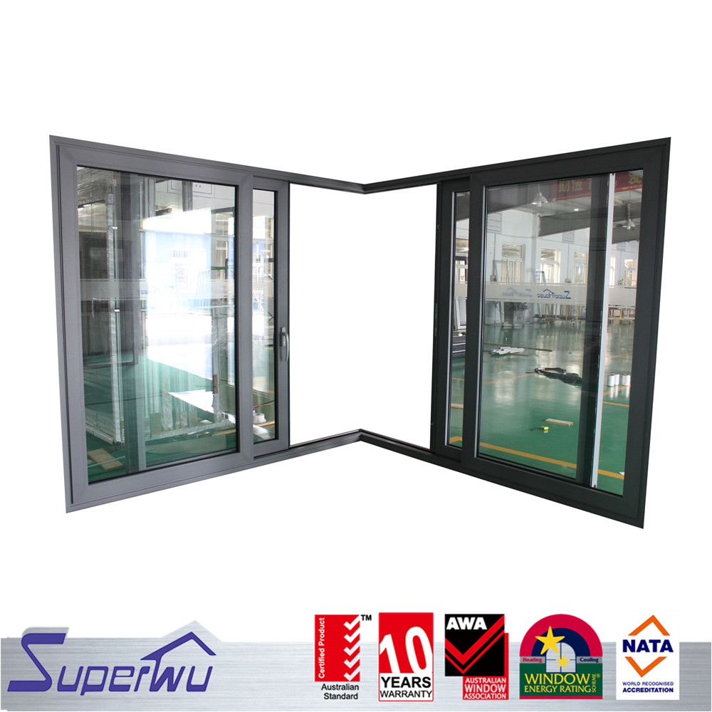 Boutique hotel 3 track corner large glass aluminum sliding as2208 door