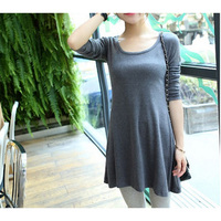 1pc new arrival 12color choice long sleeve fashion and simple design solid shirt dresses