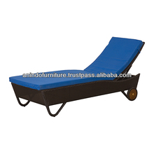 Louneg Synthetic Rattan Sofa with Blue Upholstered