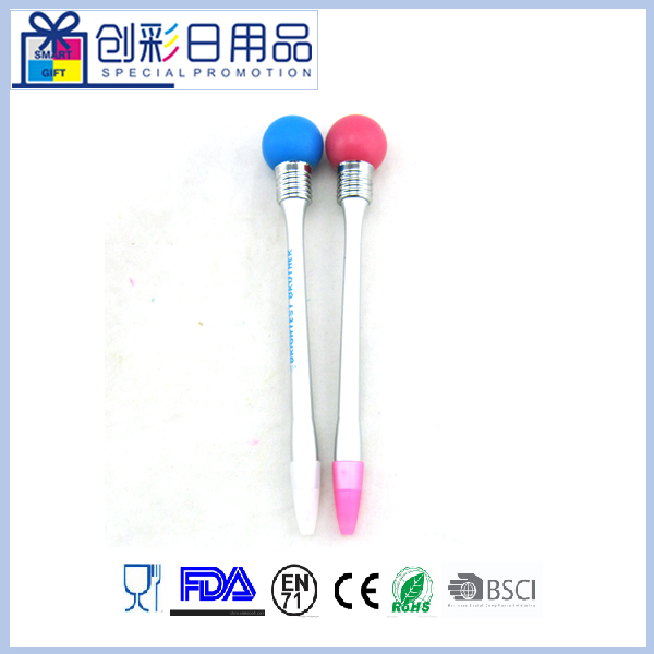 plastic promotional custom flashing ball top ball pen for advertsing