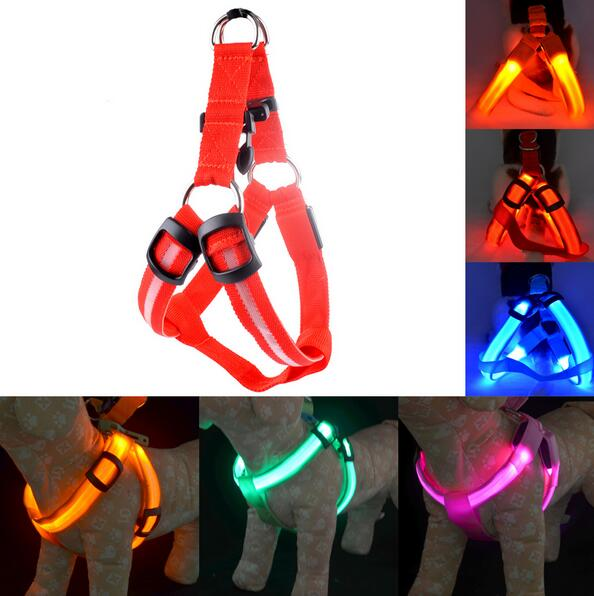 LED Nylon Pet Dog Harness Led Flashing Small Dog Cat Harness Vest Leash Rope Belt Night Safety