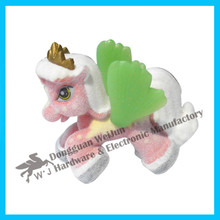 Lower price flocking plastic toy horse with shining wings