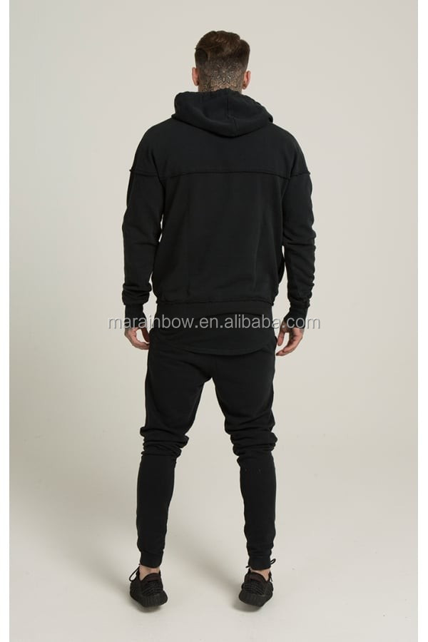 Black Raw Cut Mens Paneled Pullover Hoodie 100% Cotton Full Tracksuits Tapered Sweatpants Top Quality Tracksuit Tops and Bottoms