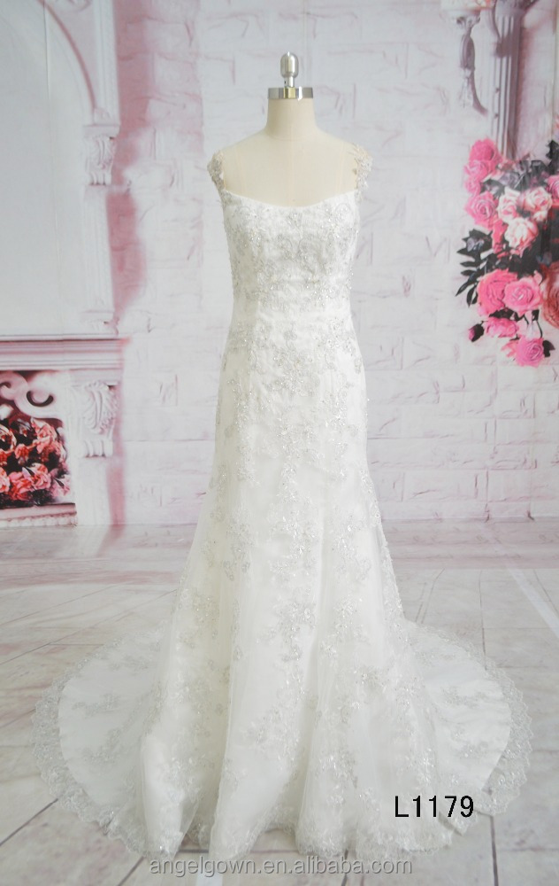 Fashion Sleeveless Mermaid Heavy Beaded Crystal Lace Wedding Gown 2016