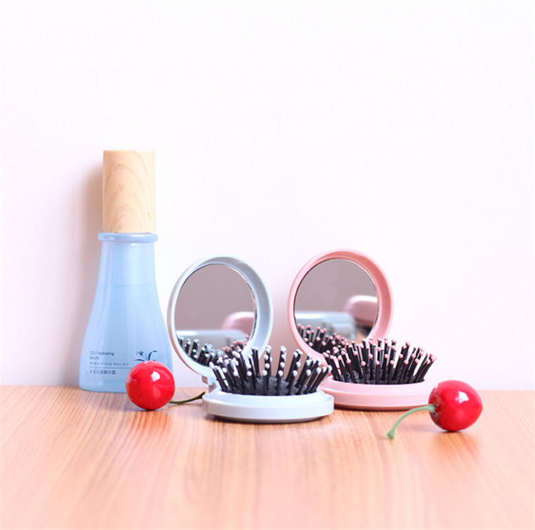 Creative folding mirror comb hair comb with Traveling mirror