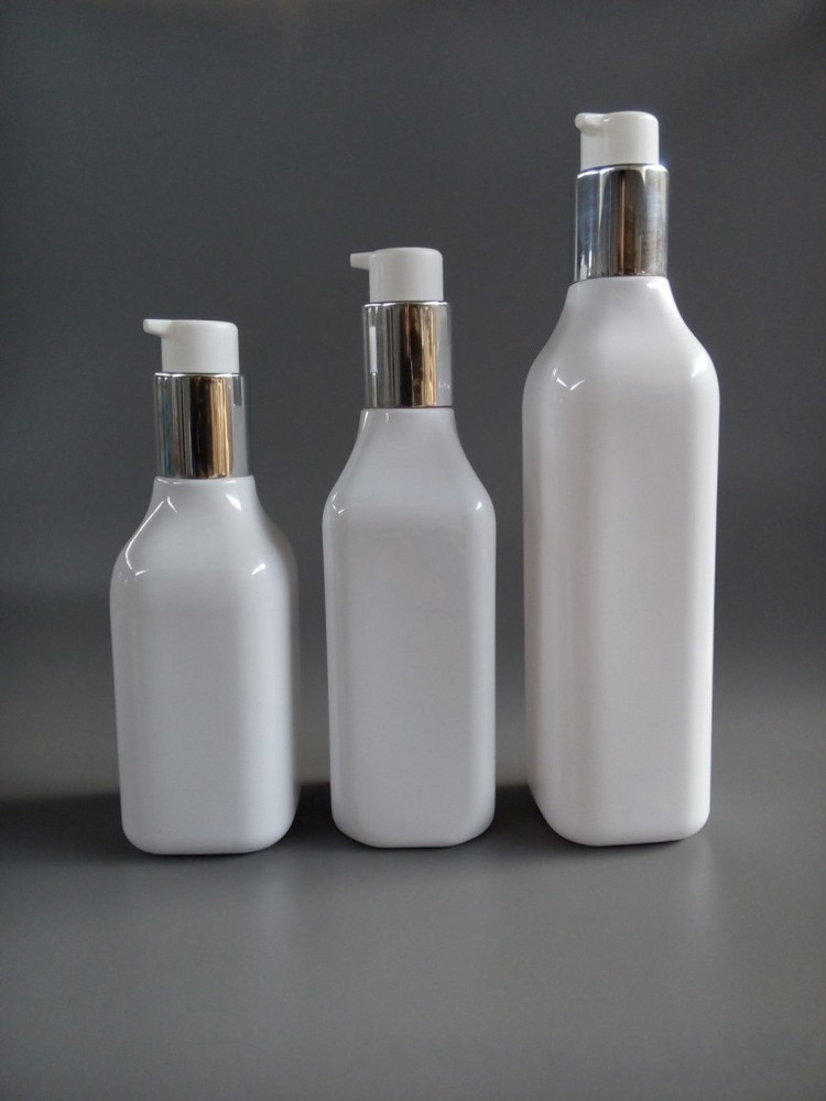 Plastic Cosmetic Bottle with Airless Dispenser for Skin Care Square bottle