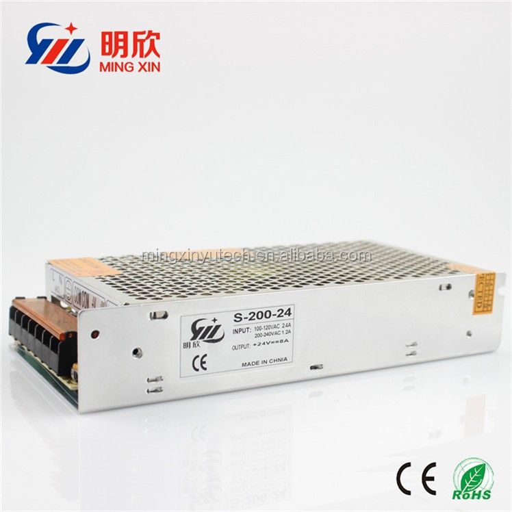 Chinese supplier 24v 8a 200w ac dc single output switching mode power supply