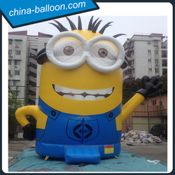 new design minion inflatable combo, inflatable bounce house with 0.55mm pvc tarpaulin