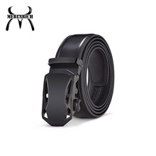 Simple style black plastic buckle leather belts for men