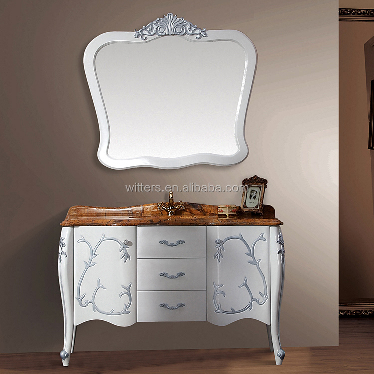 WTS212600 Spain antique furniture fency white vanity unit bathroom furniture bamboo with yellow top
