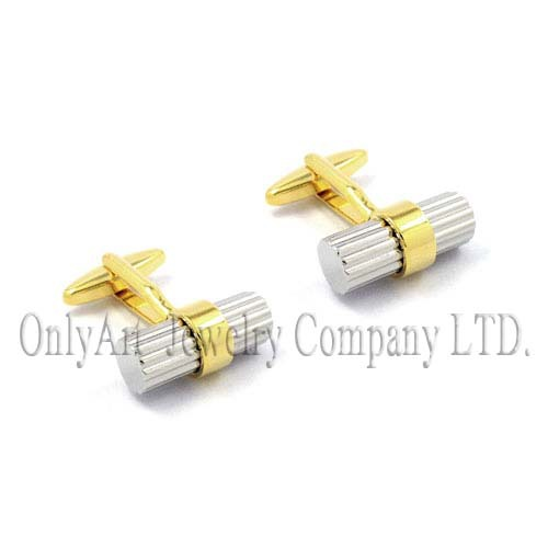 manufacturer wholesale new fashion two-tone silver and gold cufflinks for mens skirt