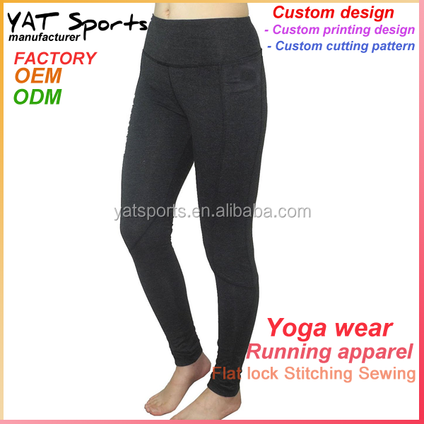High end clothing custom lycra spandex black leggings yoga pants