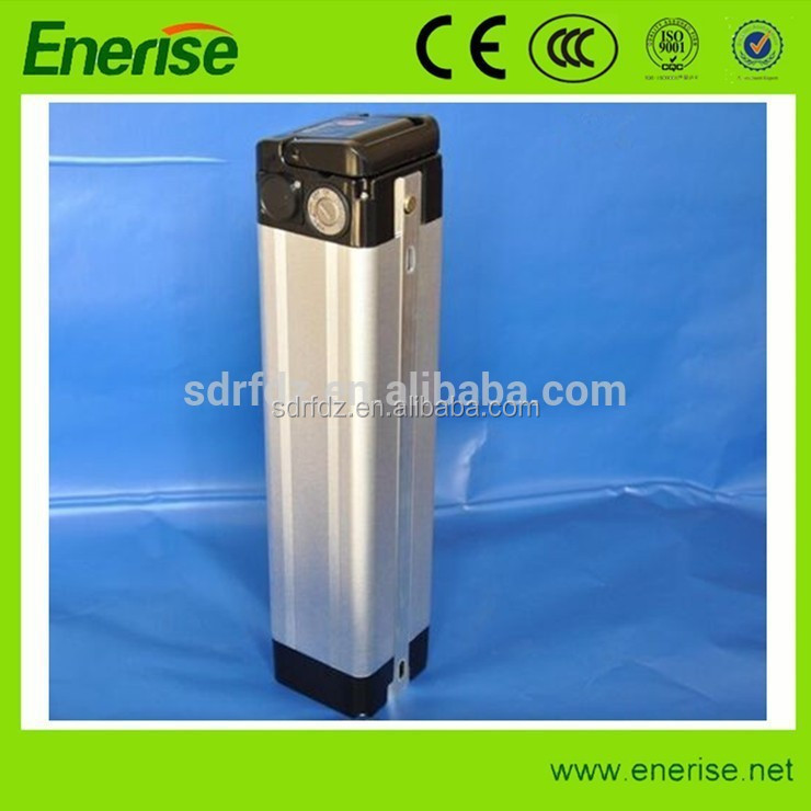 Hot Sale !Rechargeable 36v10ah LiNiCoMn Silver Fish Style e-bike battery pack