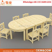 Solid pine wood nursery play school table and chairs for 1.5-4 years old kids