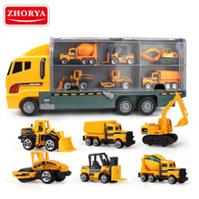 Zhorya plastic 1:22 scale toy transport tailer container truck with mini diecast race car