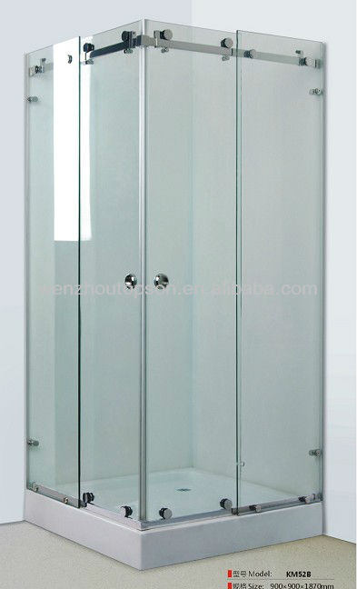 Double slide rail stainless steel glass shower bath room