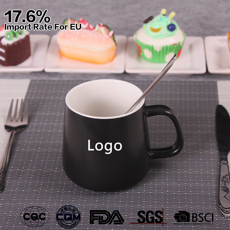 custom logo ceramic matte black 12 oz coffee mug for sale