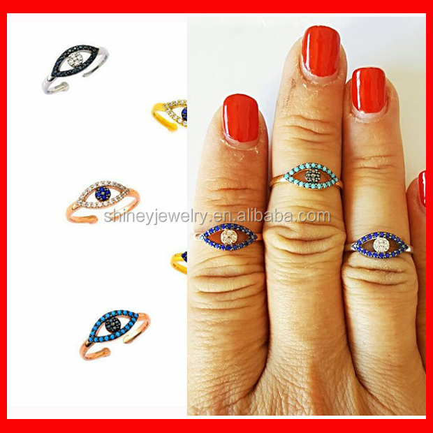 factory gold plated turkish evil eye knuckle vaRIOUS color style micro pave cz evil eye mid <strong>ring</strong>