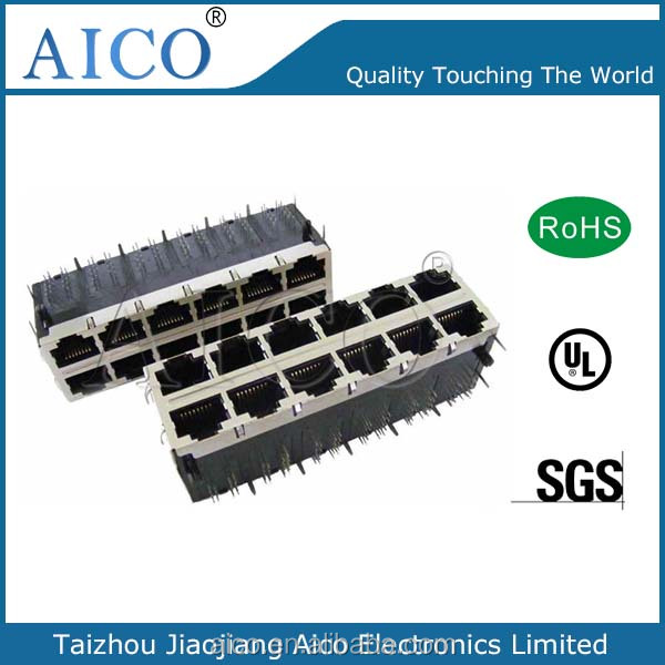 free sample pcb mounting stacked 8P8C right angle 10/100Base-T rj45 magnetic modular jack