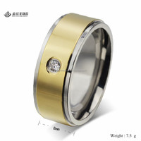 Stainless Steel Men's Gold Finger Wedding Rings with One Stone Wholesale