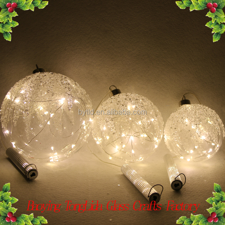 10cm/12cm/15cm glass christmas ball with LED white glitter top bauble