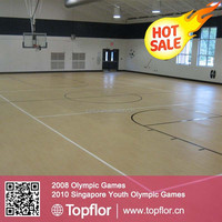 Topflor SEBE University Basketball Training Court with Wood Texture Vinyl Floor