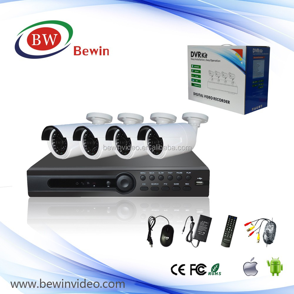 4ch cctv dvr kit with high quality picture camera with audio function, ptz function 4ch dvr kit