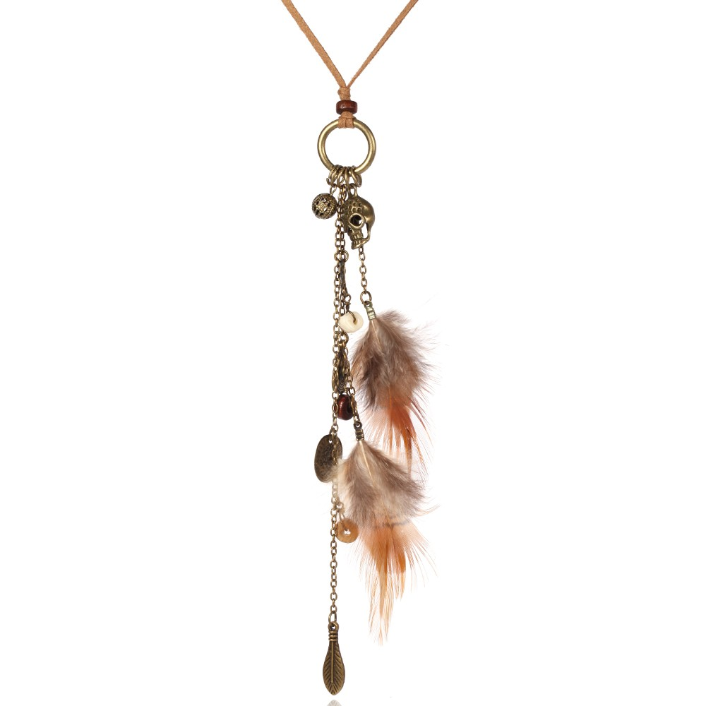 Skull and Crossbones Feather Beaded Long Leather Chain Necklace Women