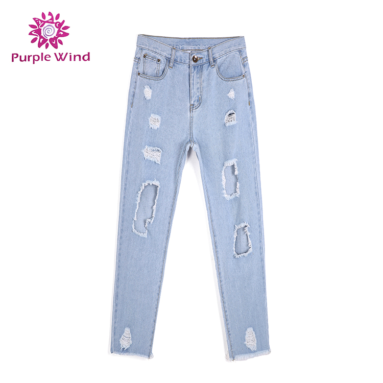 new style stock blue skinny mid waist <strong>hole</strong> ripped and raw edges denim <strong>fabrics</strong> damaged jeans woman trousers