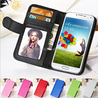 Multifunctional plain card slots flip cellphone cover for samsung s4