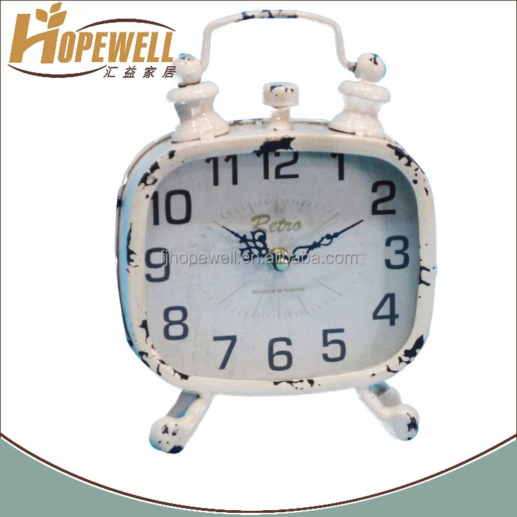 Beautiful retro iron alarm shape cheap mantel clock