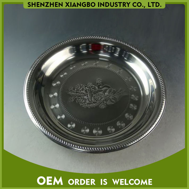 Thai style stainless steel food tray round plate 25-70CM JCD-01