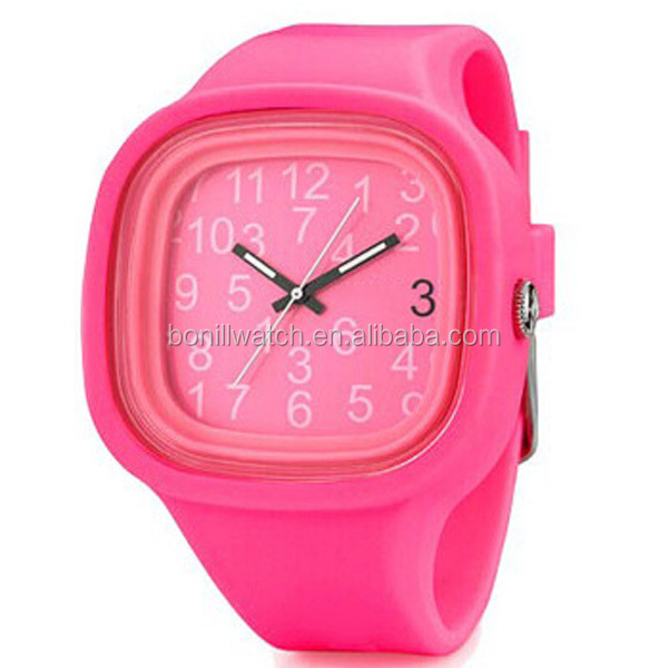 2015 Colorful silicone teens watches, Sports style silicone watch,Square silicone watches