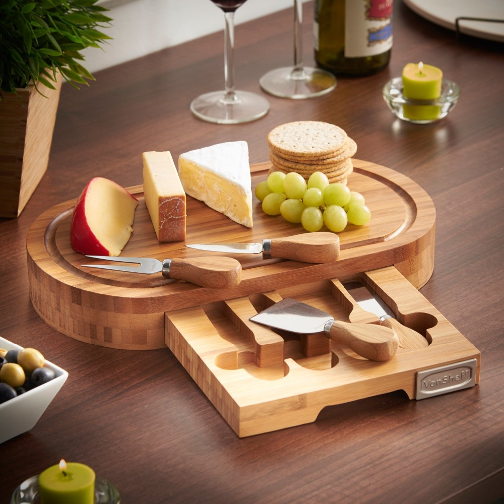 expandable wood cheese cutting board with knife set and hidden drawer