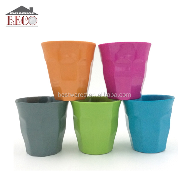 Melamine solid color octagon plastic party drinking cups