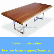 T shape stainless steel leg for Maple wood top massive table
