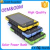 Portable keychain 10000mah solar power bank charger for travelling and hiking